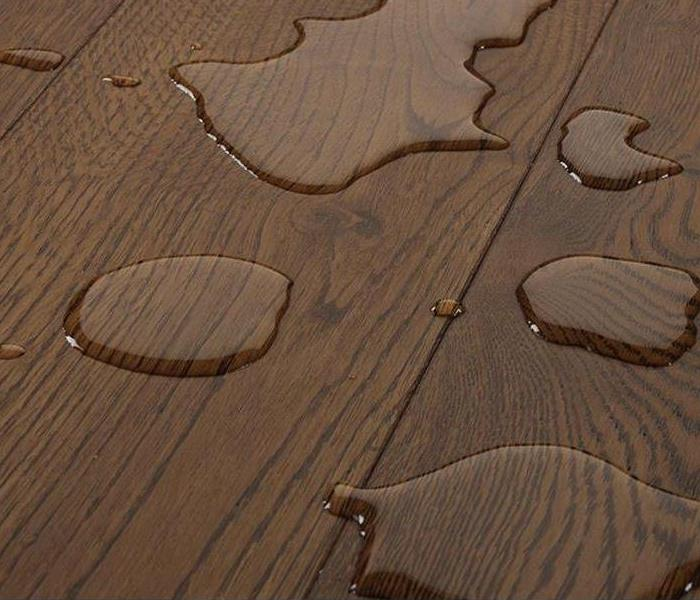 brown wood floor with water puddles on top